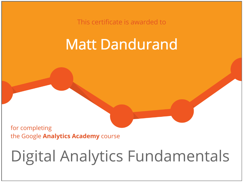 Matt Dandurand Receives Google Analytics Academy Certification